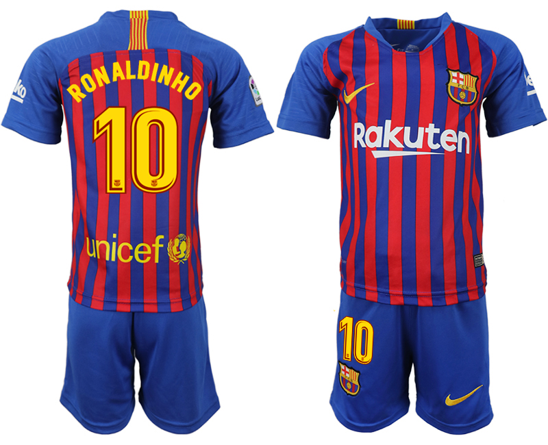 Youth 2018-2019 club Barcelona home 10 blue soccer jersey