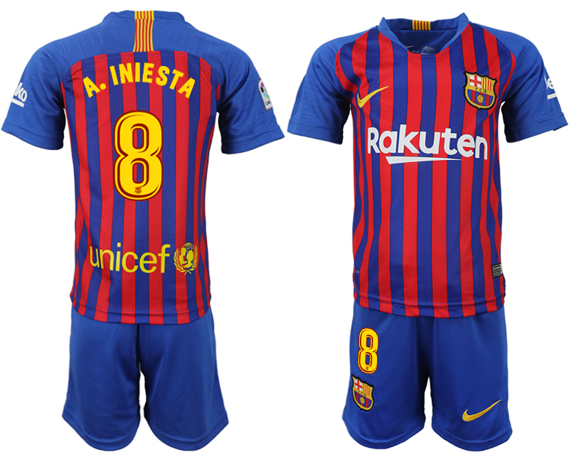 Youth 2018-2019 club Barcelona home 8 blue soccer jersey
