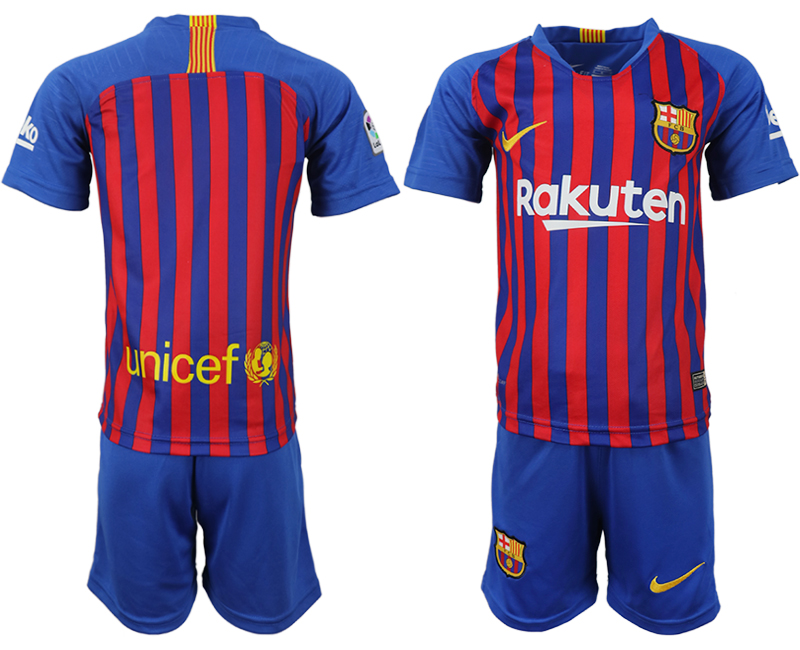 Youth 2018-2019 club Barcelona home blank blue soccer jersey