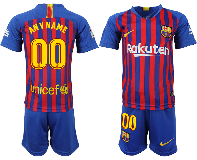 Youth 2018-2019 club Barcelona home customized blue soccer jersey