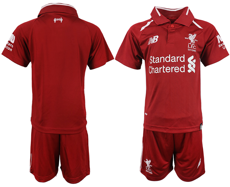 Youth 2018-2019 club Liverpool home blank red soccer jersey