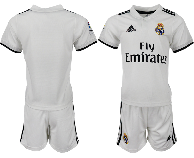 Youth 2018-2019 club Real Madrid home blank white soccer jersey
