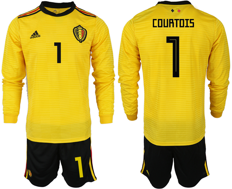 Men 2018 World Cup Belgium away Long sleeve 1 yellow soccer jerseys