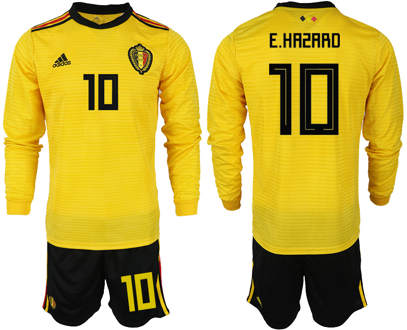 Men 2018 World Cup Belgium away Long sleeve 10 yellow soccer jerseys