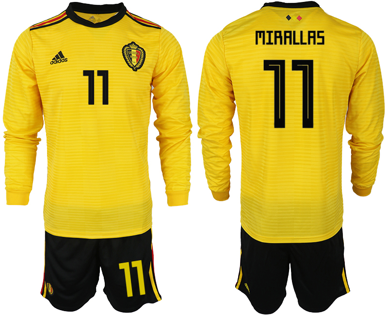 Men 2018 World Cup Belgium away Long sleeve 11 yellow soccer jerseys