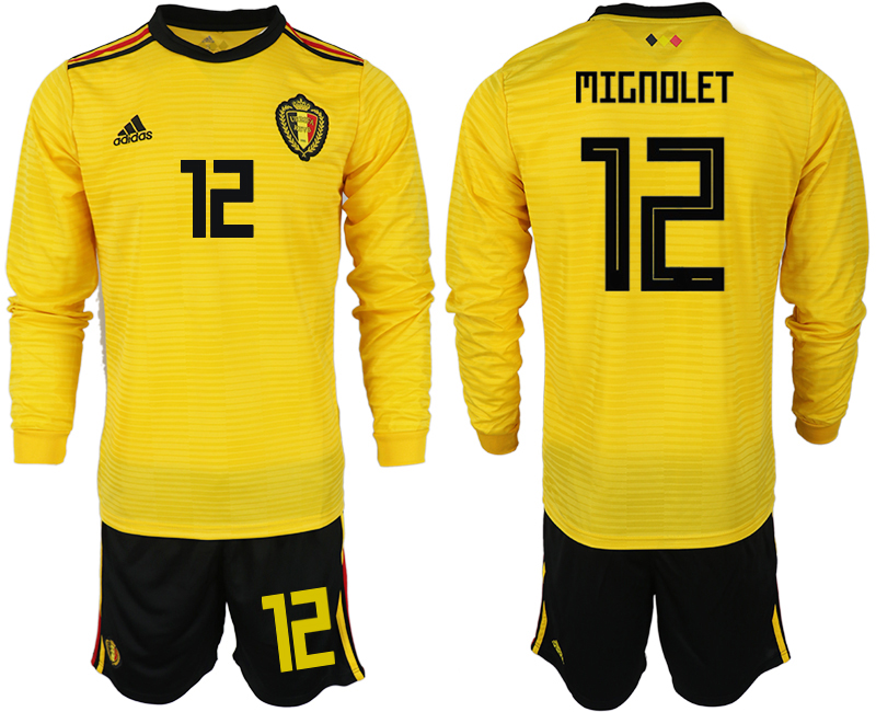 Men 2018 World Cup Belgium away Long sleeve 12 yellow soccer jerseys