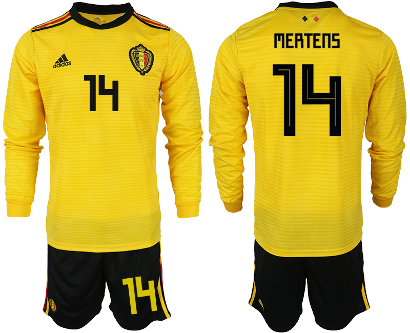 Men 2018 World Cup Belgium away Long sleeve 14 yellow soccer jerseys