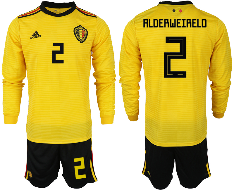 Men 2018 World Cup Belgium away Long sleeve 2 yellow soccer jerseys