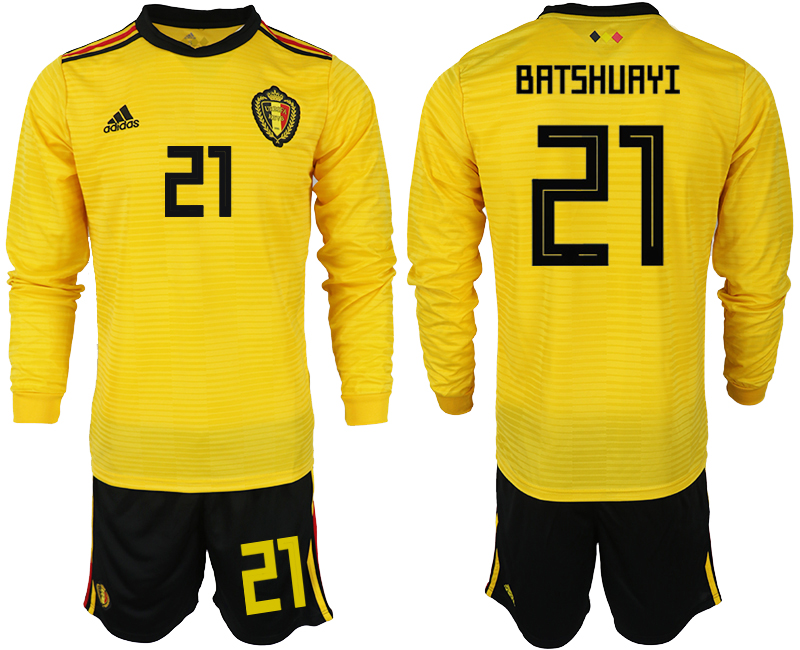 Men 2018 World Cup Belgium away Long sleeve 21 yellow soccer jerseys