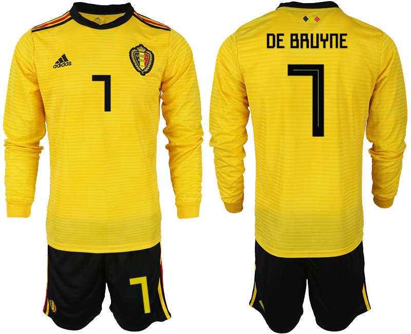 Men 2018 World Cup Belgium away Long sleeve 7 yellow soccer jerseys