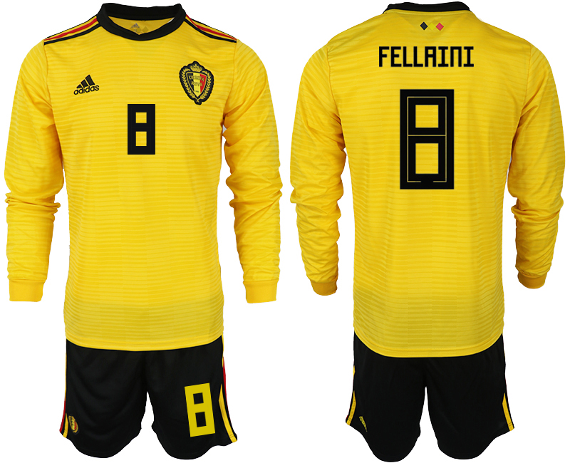 Men 2018 World Cup Belgium away Long sleeve 8 yellow soccer jerseys