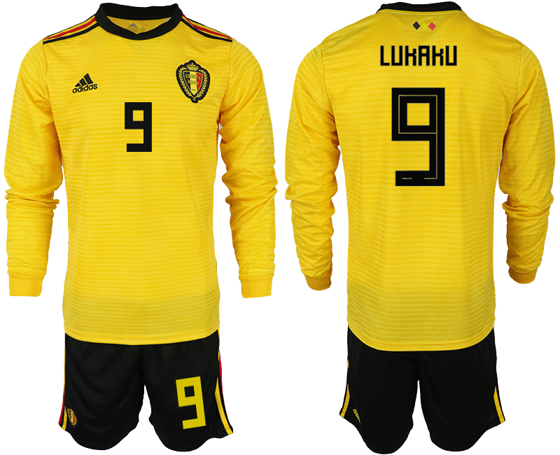 Men 2018 World Cup Belgium away Long sleeve 9 yellow soccer jerseys