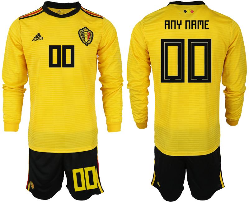 Men 2018 World Cup Belgium away Long sleeve customized yellow soccer jerseys