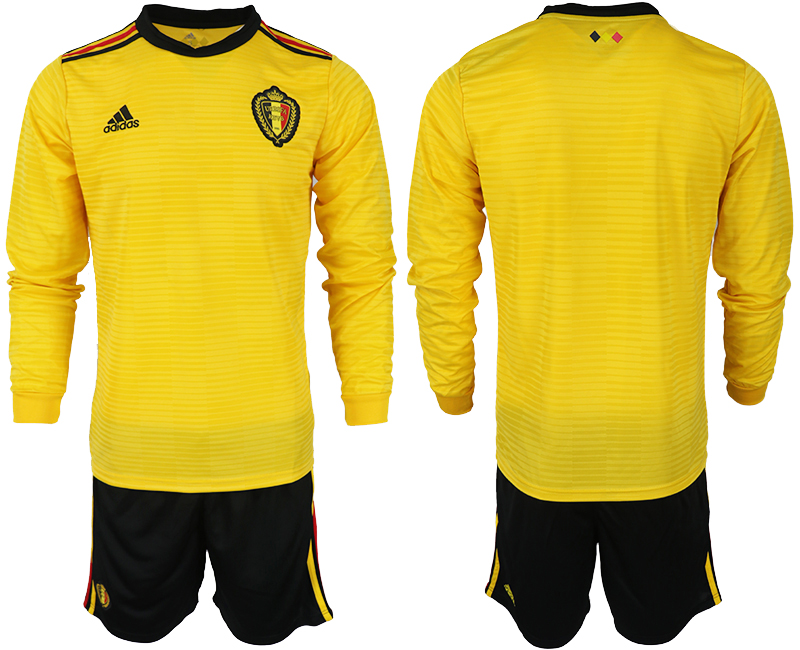 Men 2018 World Cup Belgium away Long sleeve yellow soccer jerseys
