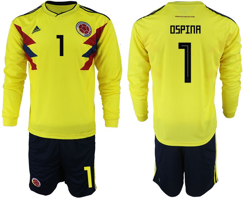 Men 2018 World Cup Colombia home Long sleeve 1 yellow soccer jerseys
