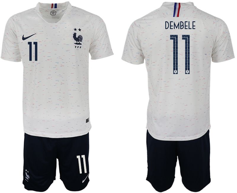 Men 2018 World Cup France away 11 white soccer jerseys