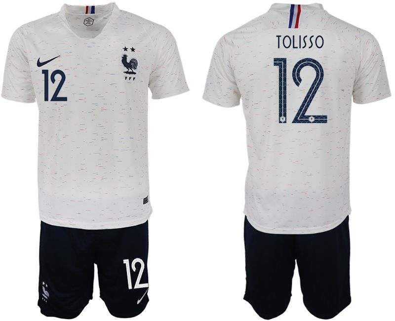 Men 2018 World Cup France away 12 white soccer jerseys1