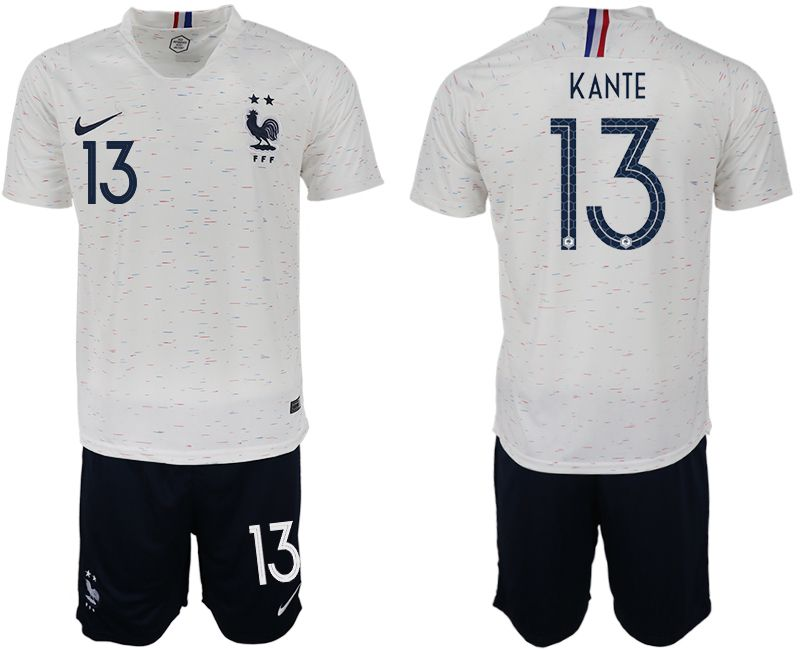 Men 2018 World Cup France away 13 white soccer jerseys