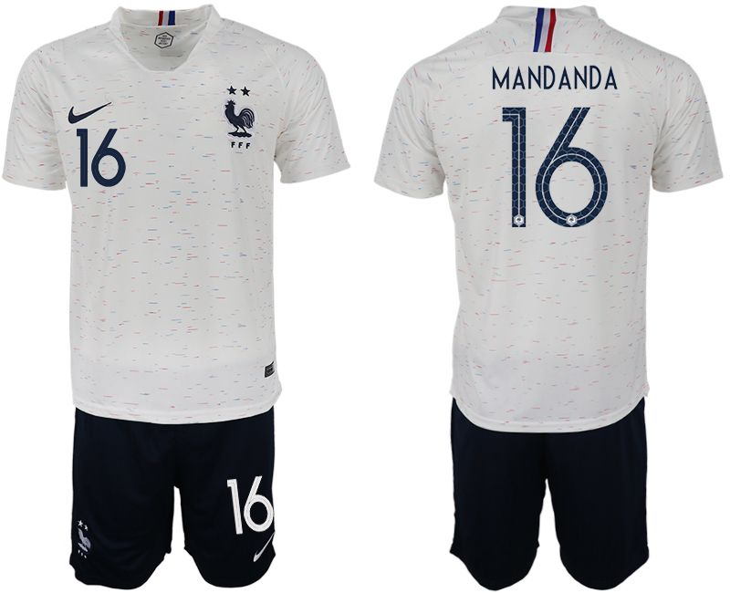 Men 2018 World Cup France away 16 white soccer jerseys