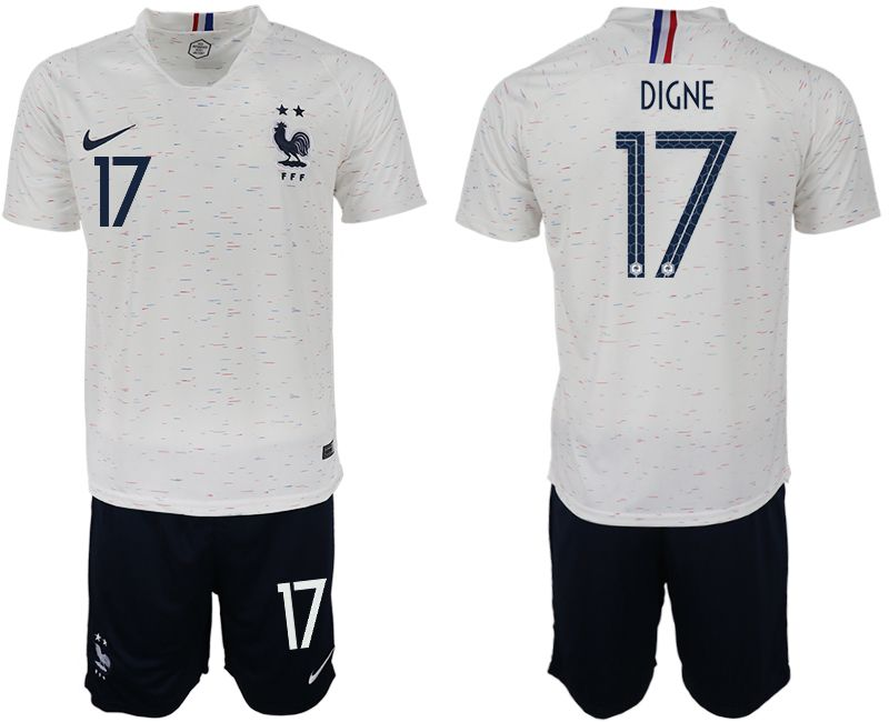 Men 2018 World Cup France away 17 white soccer jerseys
