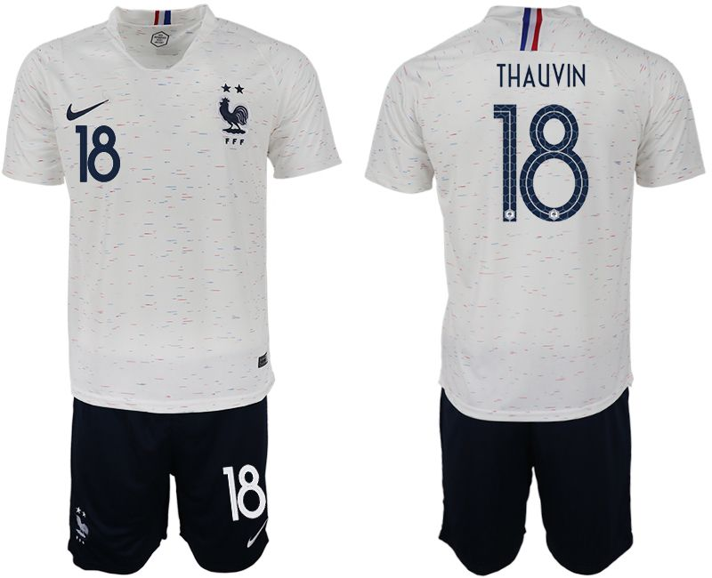 Men 2018 World Cup France away 18 white soccer jerseys