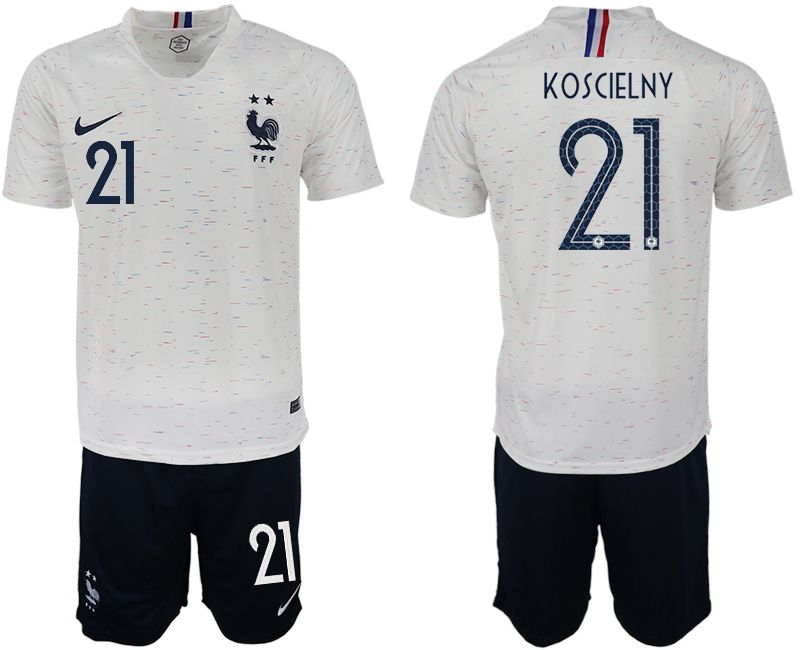 Men 2018 World Cup France away 21 white soccer jerseys