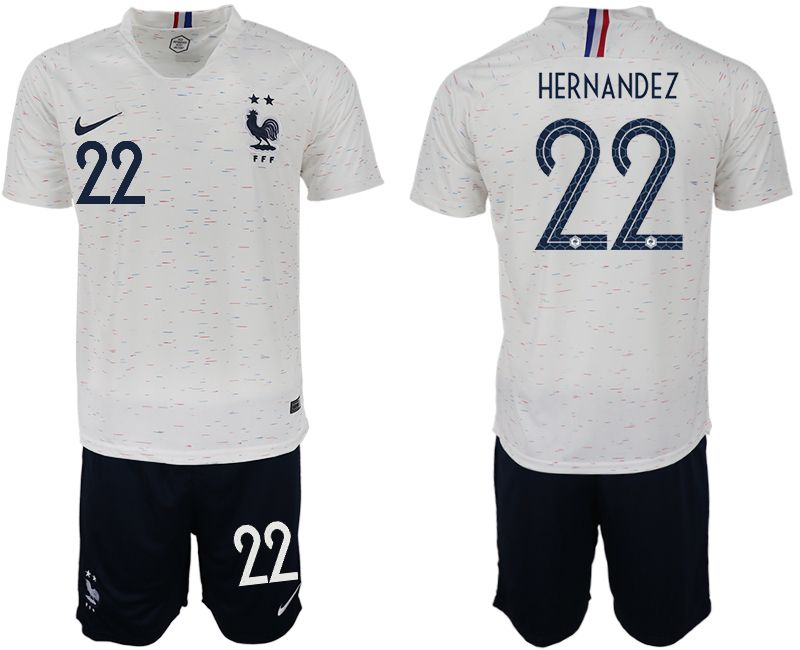 Men 2018 World Cup France away 22 white soccer jerseys