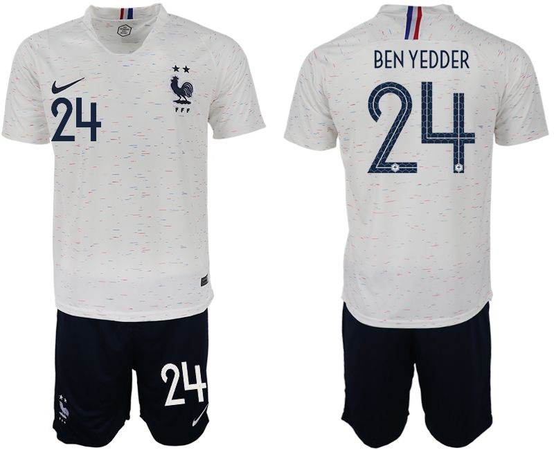 Men 2018 World Cup France away 24 white soccer jerseys