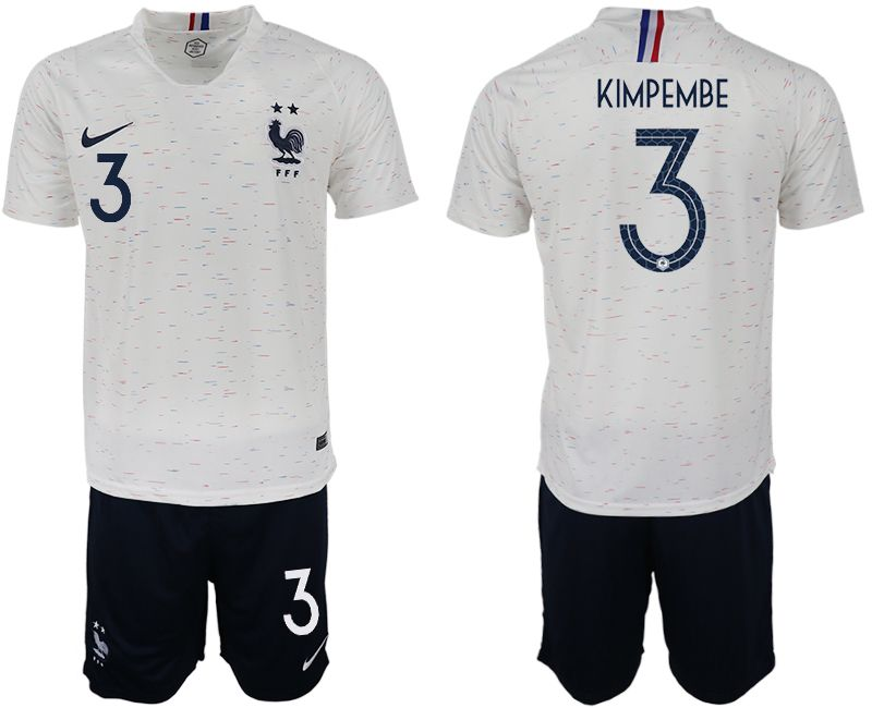 Men 2018 World Cup France away 3 white soccer jerseys