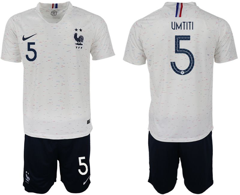 Men 2018 World Cup France away 5 white soccer jerseys