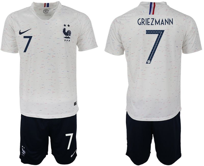 Men 2018 World Cup France away 7 white soccer jerseys