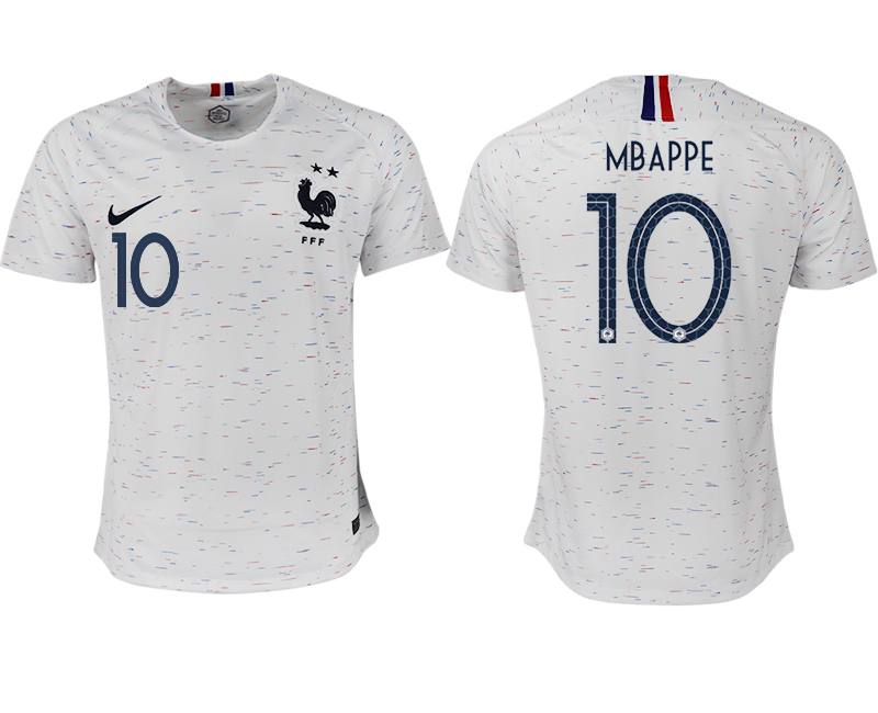 Men 2018 World Cup France away aaa version 10 white soccer jerseys