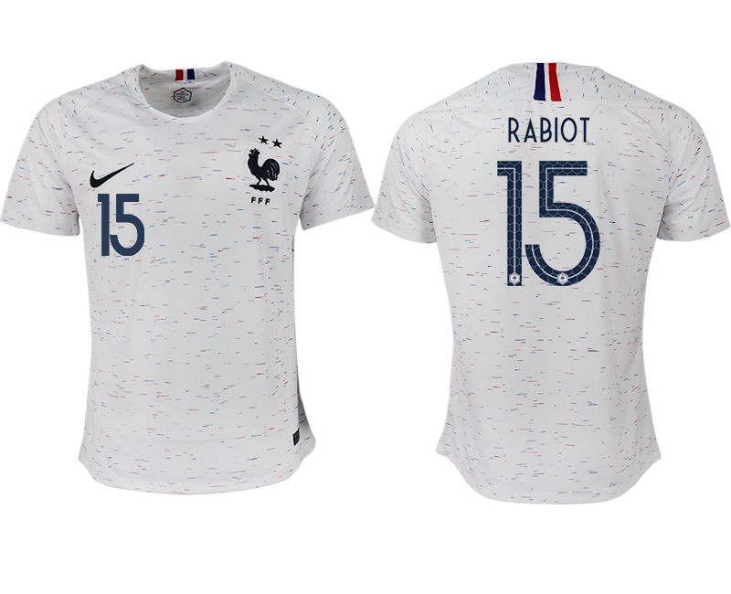 Men 2018 World Cup France away aaa version 15 white soccer jerseys