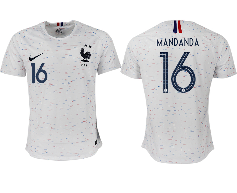 Men 2018 World Cup France away aaa version 16 white soccer jerseys