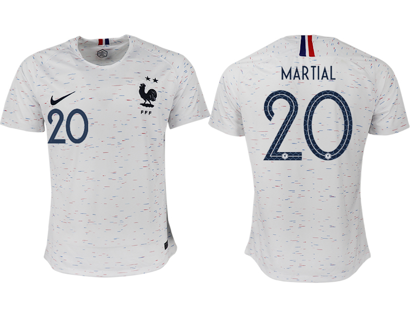 Men 2018 World Cup France away aaa version 20 white soccer jerseys