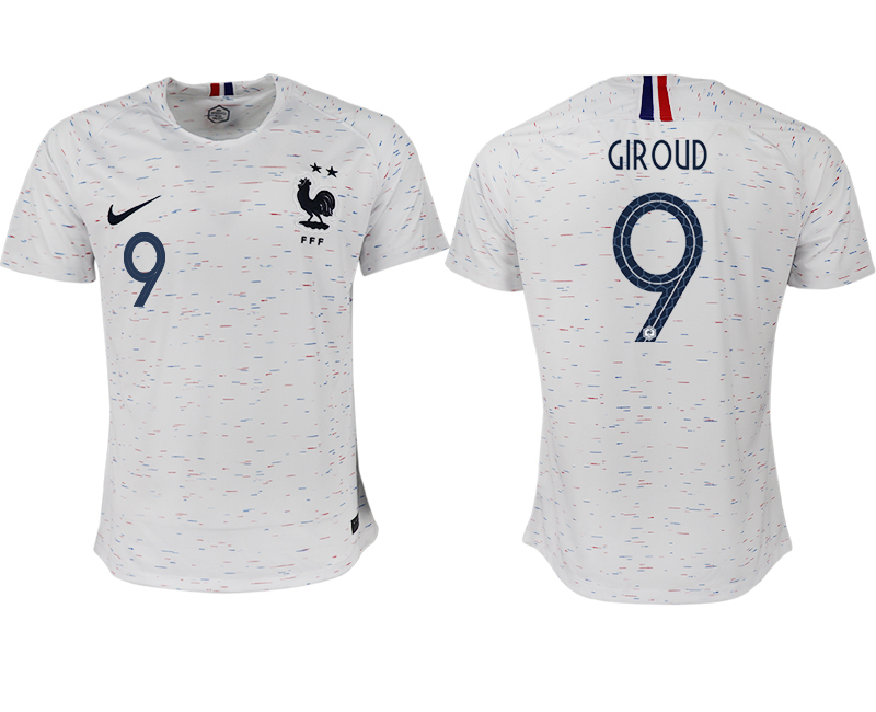 Men 2018 World Cup France away aaa version 9 white soccer jerseys