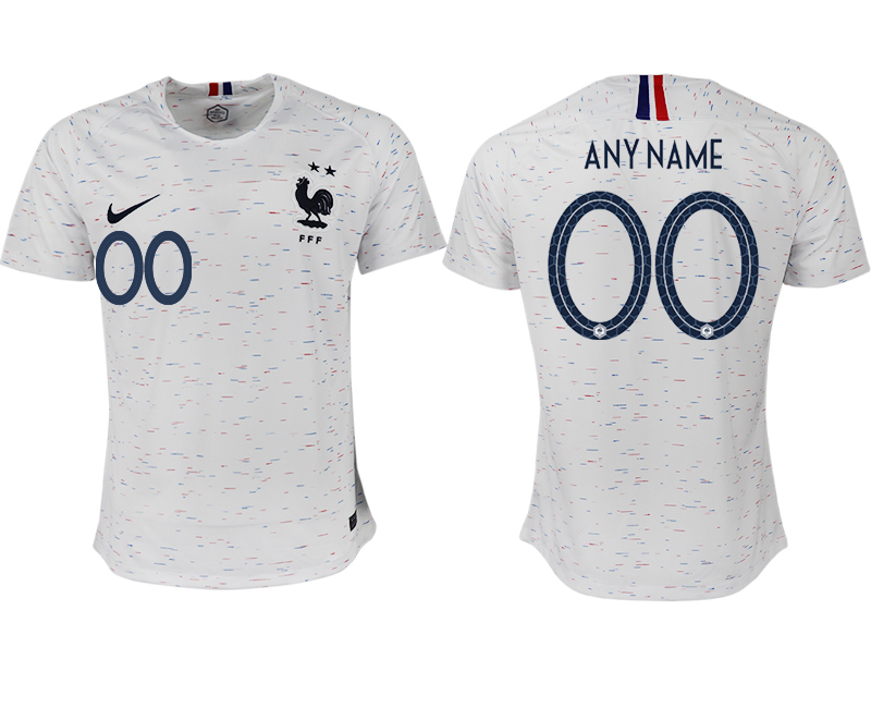 Men 2018 World Cup France away aaa version customized white soccer jerseys