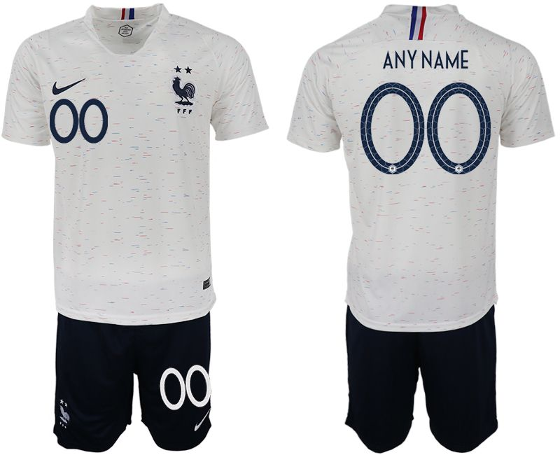 Men 2018 World Cup France away customized white soccer jerseys