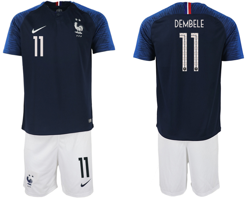 Men 2018 World Cup France home 11 blue soccer jersey