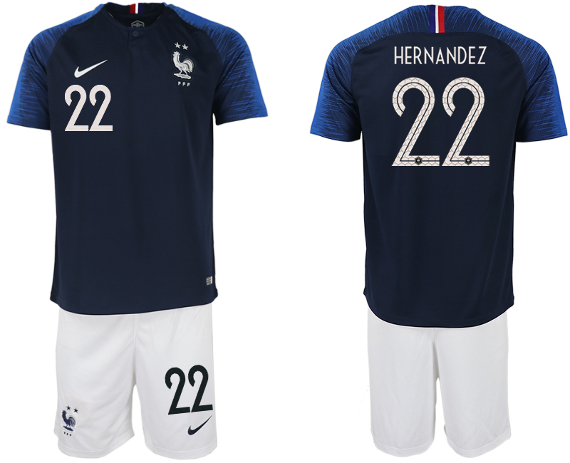 Men 2018 World Cup France home 22 blue soccer jersey