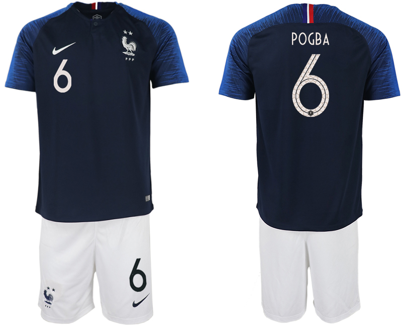 Men 2018 World Cup France home 6 blue soccer jersey