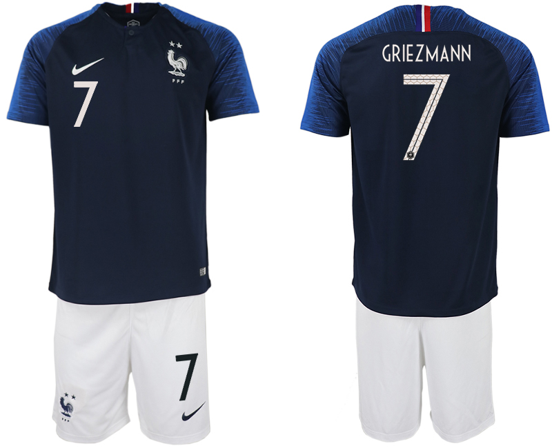 Men 2018 World Cup France home 7 blue soccer jersey
