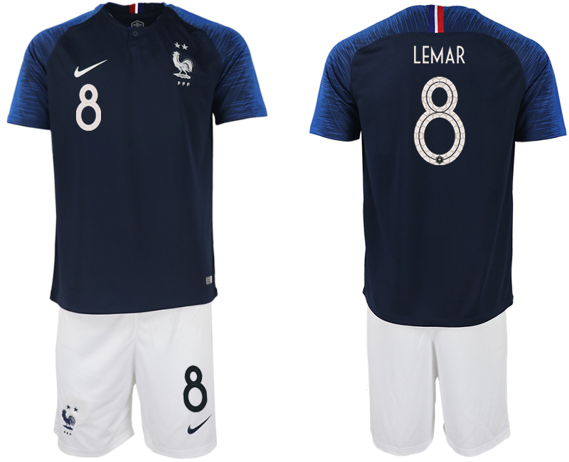 Men 2018 World Cup France home 8 blue soccer jersey