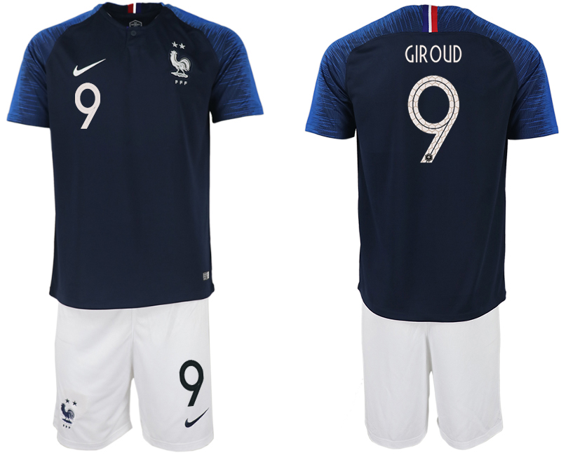 Men 2018 World Cup France home 9 blue soccer jersey