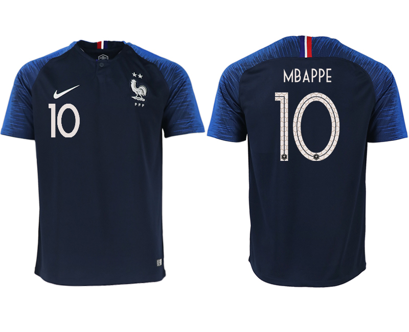 Men 2018 World Cup France home aaa version 10 blue soccer jerseys1