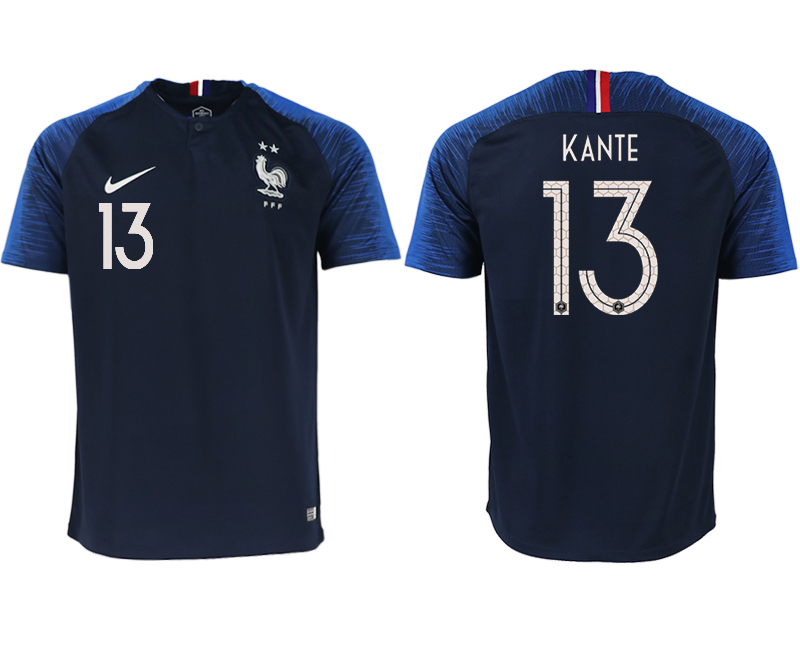 Men 2018 World Cup France home aaa version 13 blue soccer jerseys