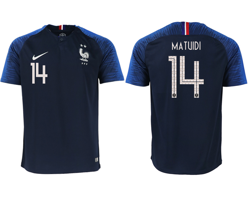 Men 2018 World Cup France home aaa version 14 blue soccer jerseys