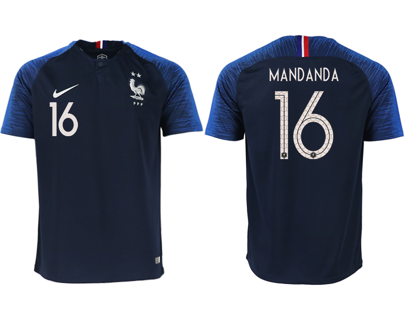 Men 2018 World Cup France home aaa version 16 blue soccer jerseys