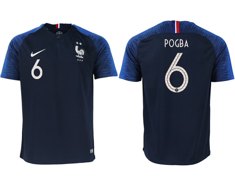 Men 2018 World Cup France home aaa version 6 blue soccer jerseys