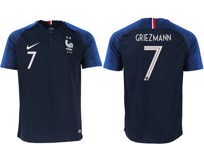 Men 2018 World Cup France home aaa version 7 blue soccer jerseys